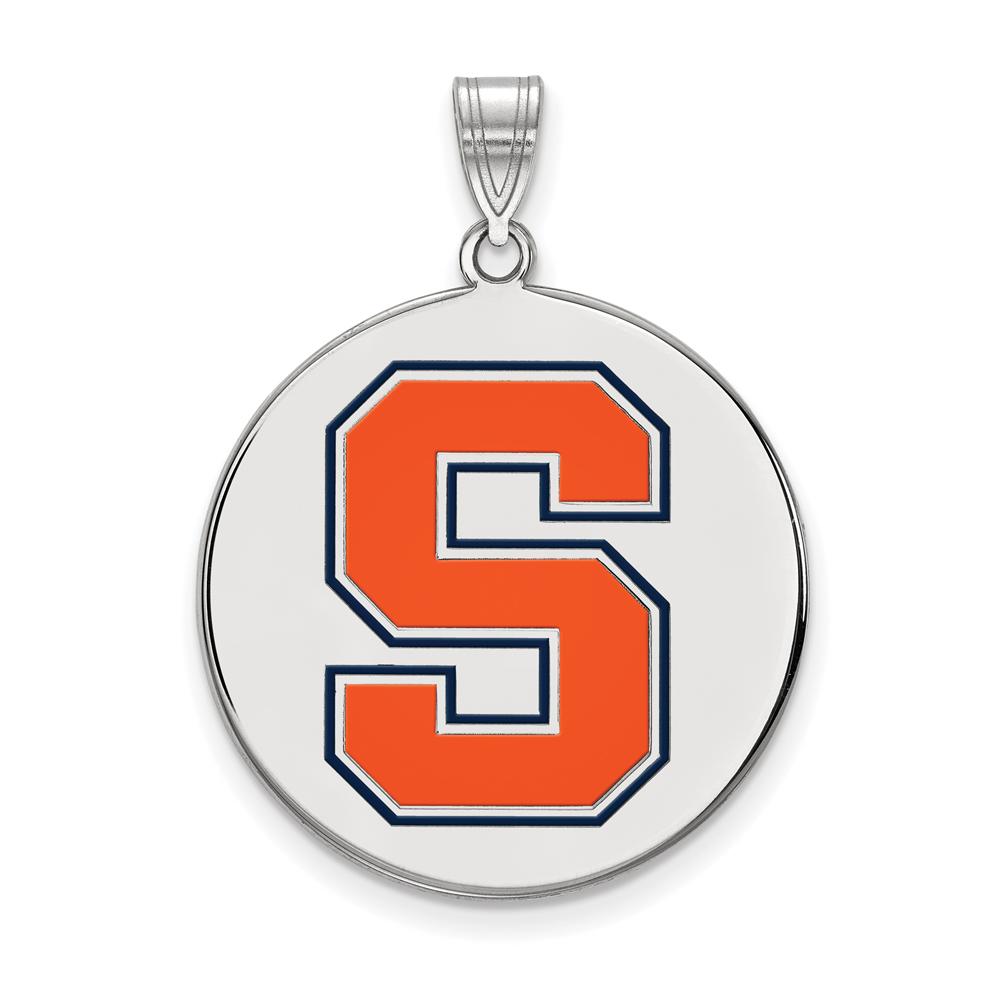 Ncaa Sterling Silver Syracuse U. Xl Enamel Disc Pendant