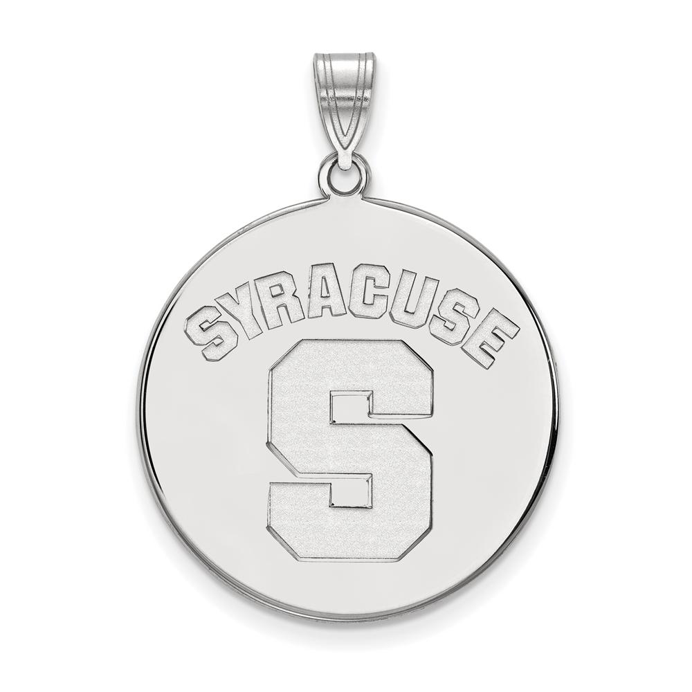 Ncaa 10k White Gold Syracuse U. Xl Disc Pendant