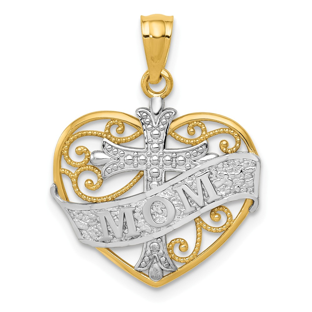 14k Yellow gold and White Rhodium Mom and Cross Heart Pendant, 17mm