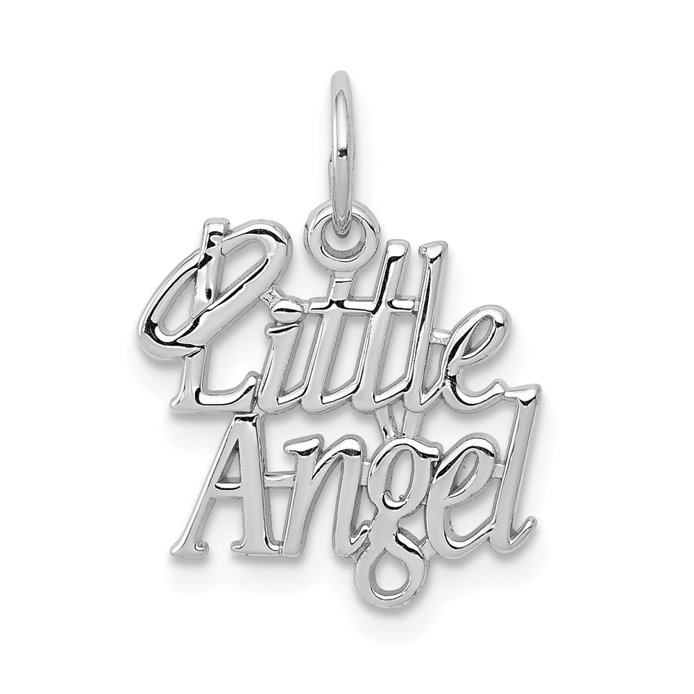 14k White Gold Little Angel Charm or Pendant, 15mm (9/16 inch)