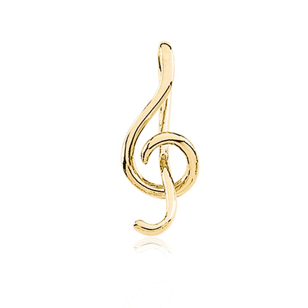 14k Yellow Gold Treble Clef Music Pendant