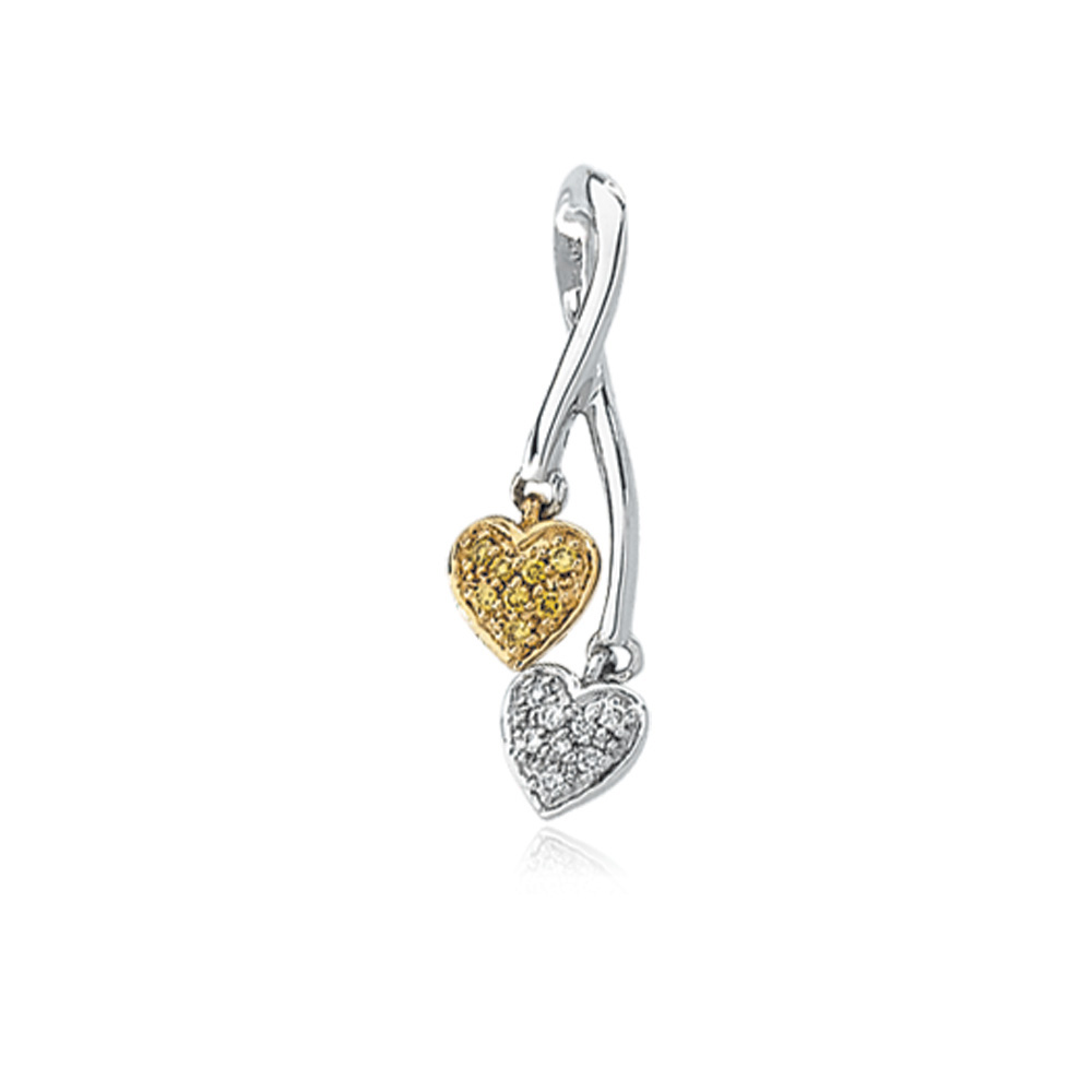 14k Two Tone Gold Diamond Hearts Entwined Pendant