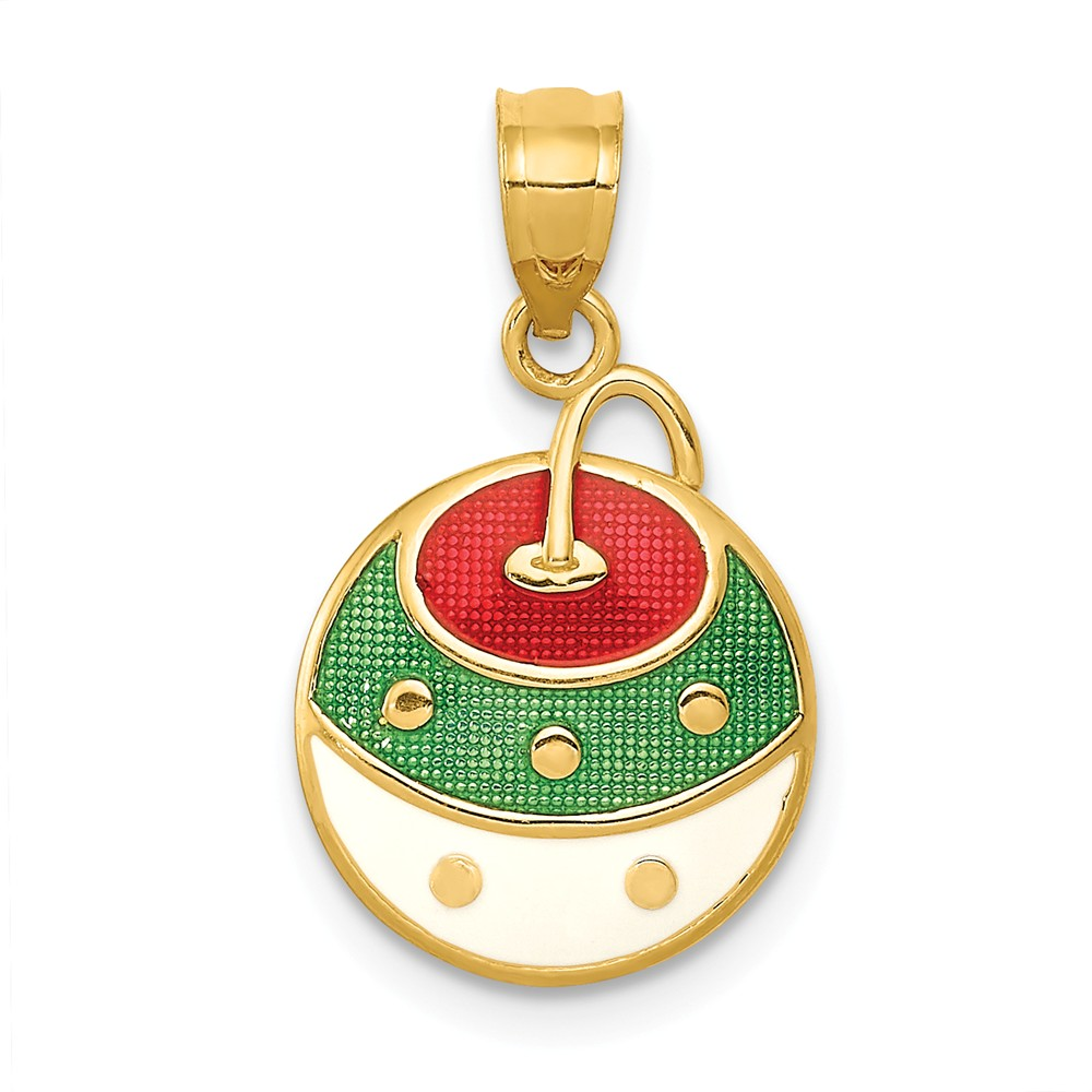 14k Yellow Gold, Enameled Christmas Ornament Pendant