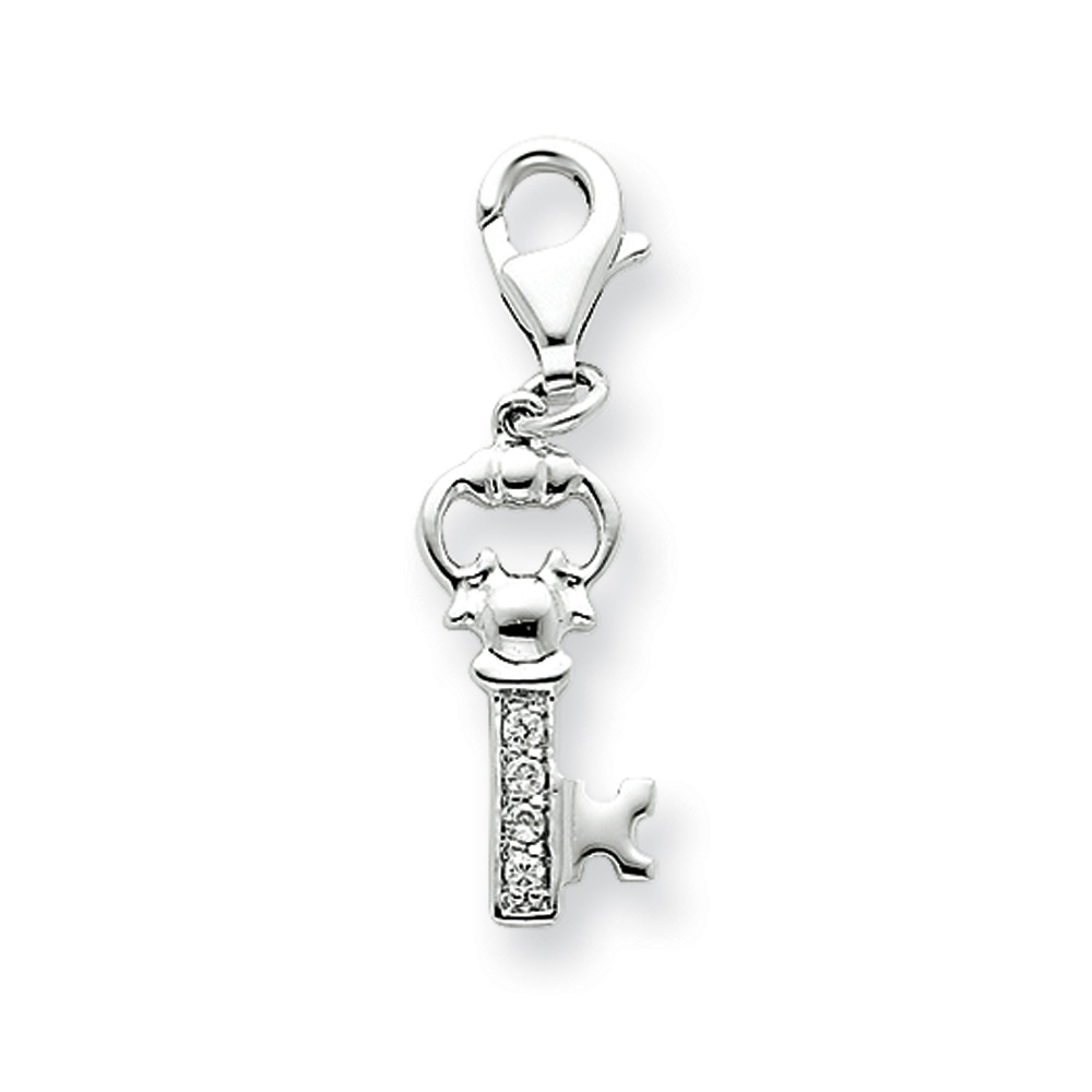 Sterling Silver Cubic Zirconia Encrusted Key Charm with Lobster Clasp