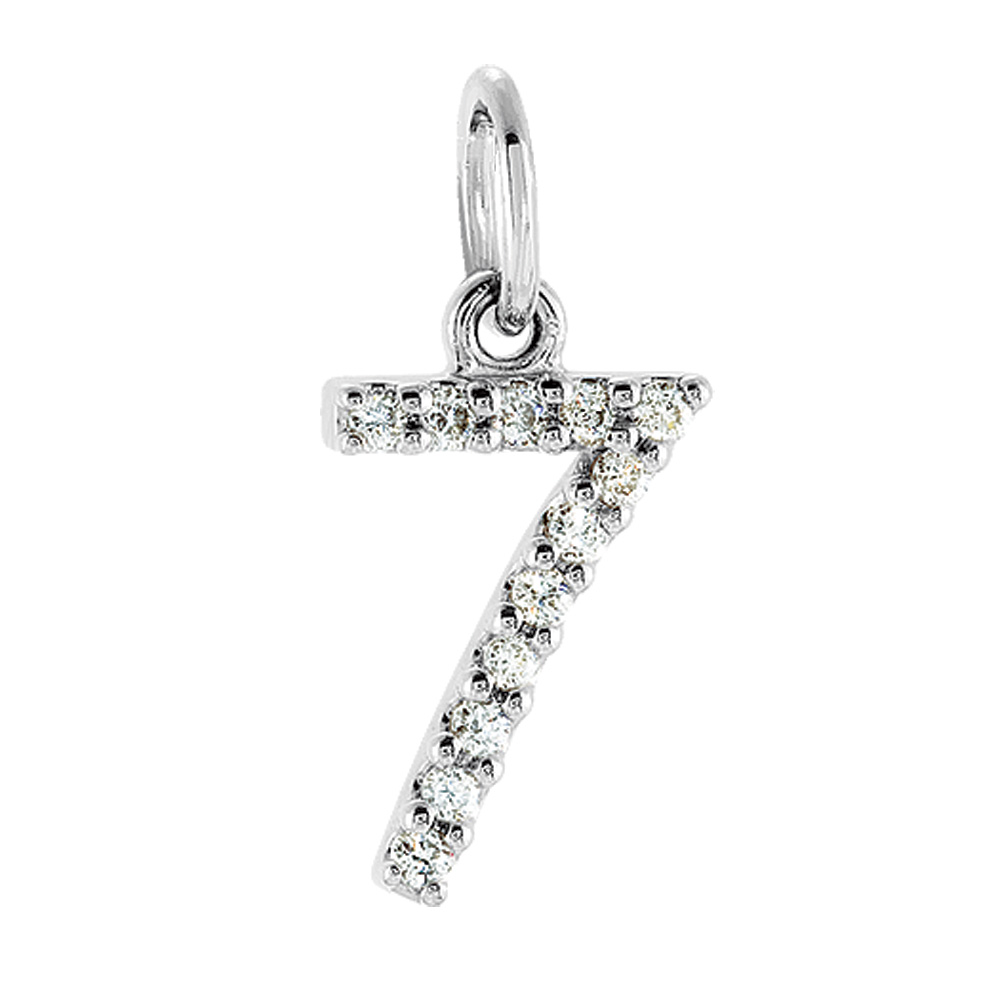 .05 Cttw Diamond & 14k White Gold Mini Number 7 Charm or Pendant