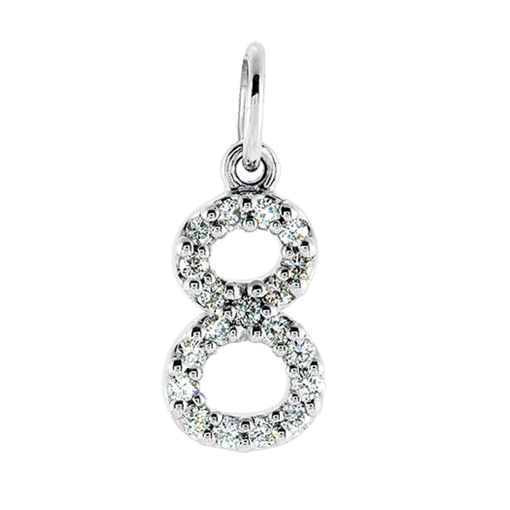 .08 Cttw Diamond & 14k White Gold Mini Number 8 Charm or Pendant
