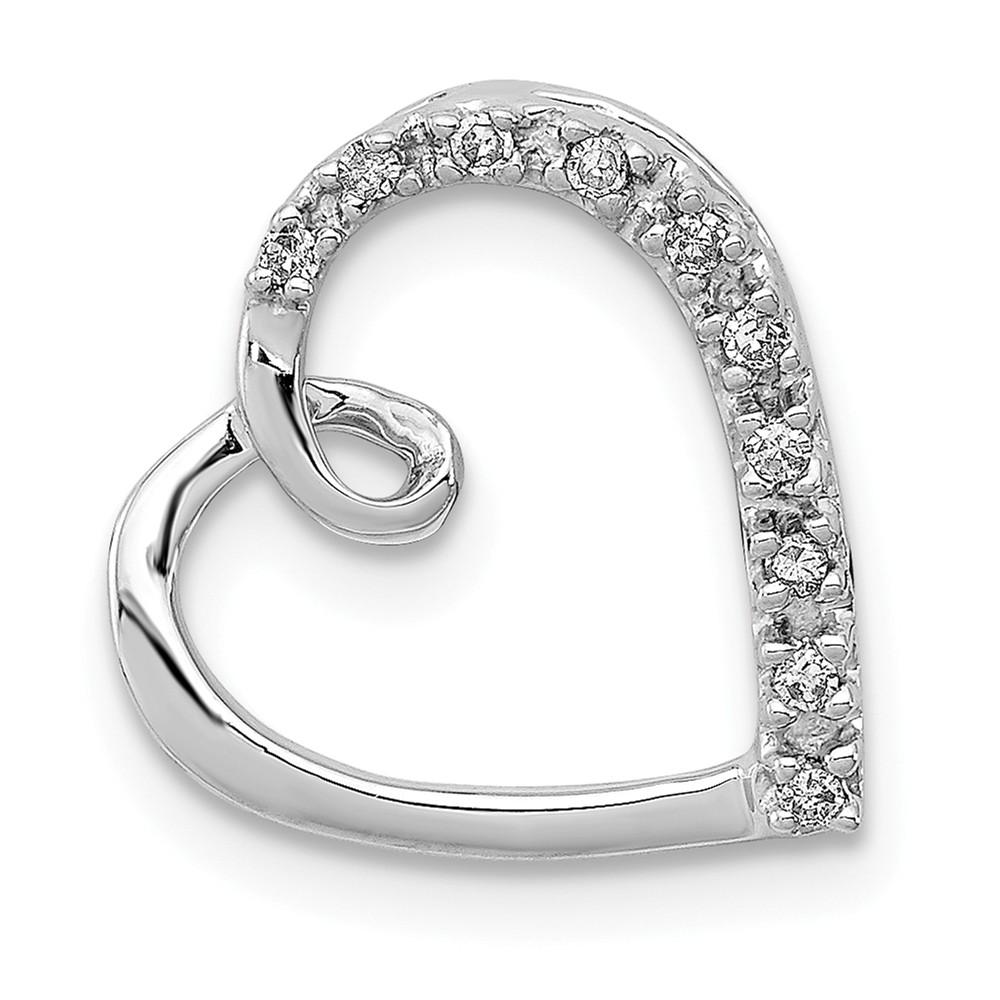 .05 Carat Diamond Open Script Heart Pendant in Sterling Silver