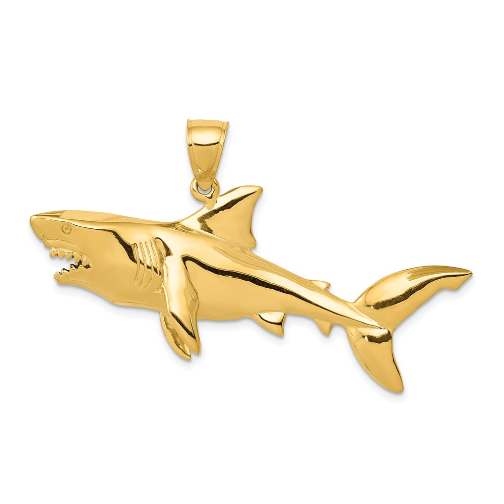 14k Yellow Gold 3D Shark Pendant