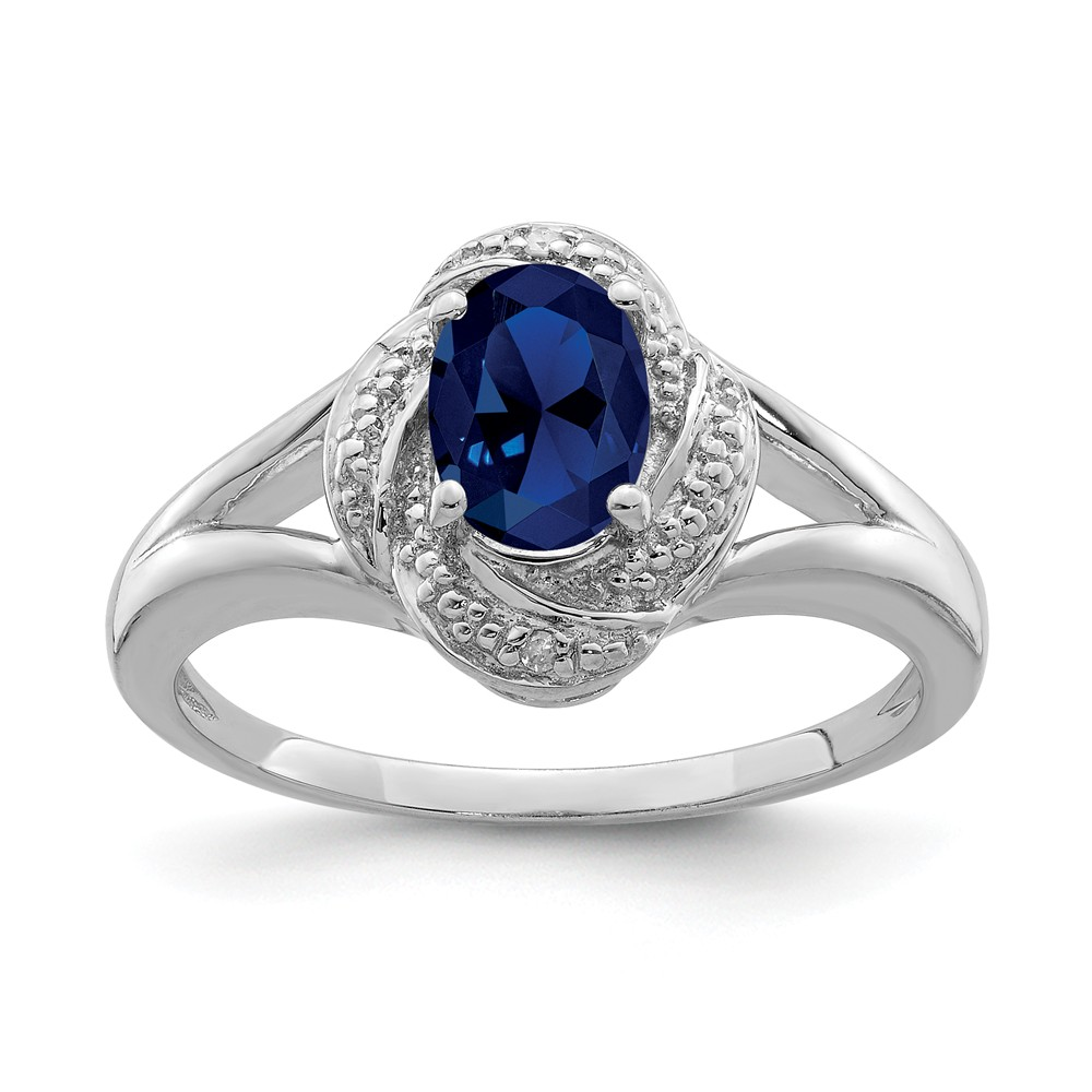 Sapphire | Sterling | Diamond | Silver | Oval | Ring | Size