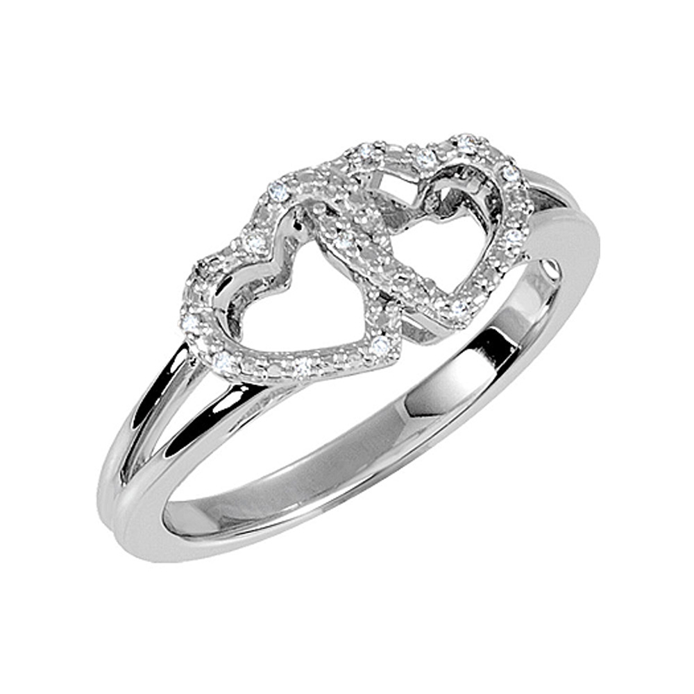 .05 Ctw Diamond Double Heart Ring in Sterling Silver, Size 5