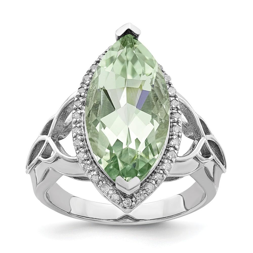 Cocktail | Sterling | Diamond | Quartz | Silver | Green | Ring