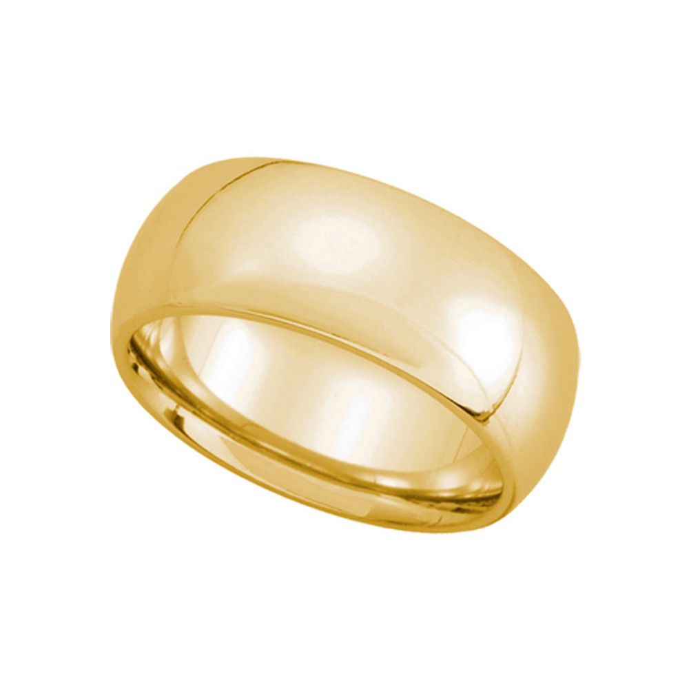 8mm Domed Comfort Fit Wedding Band in 14k Yellow Gold, Size 8.5