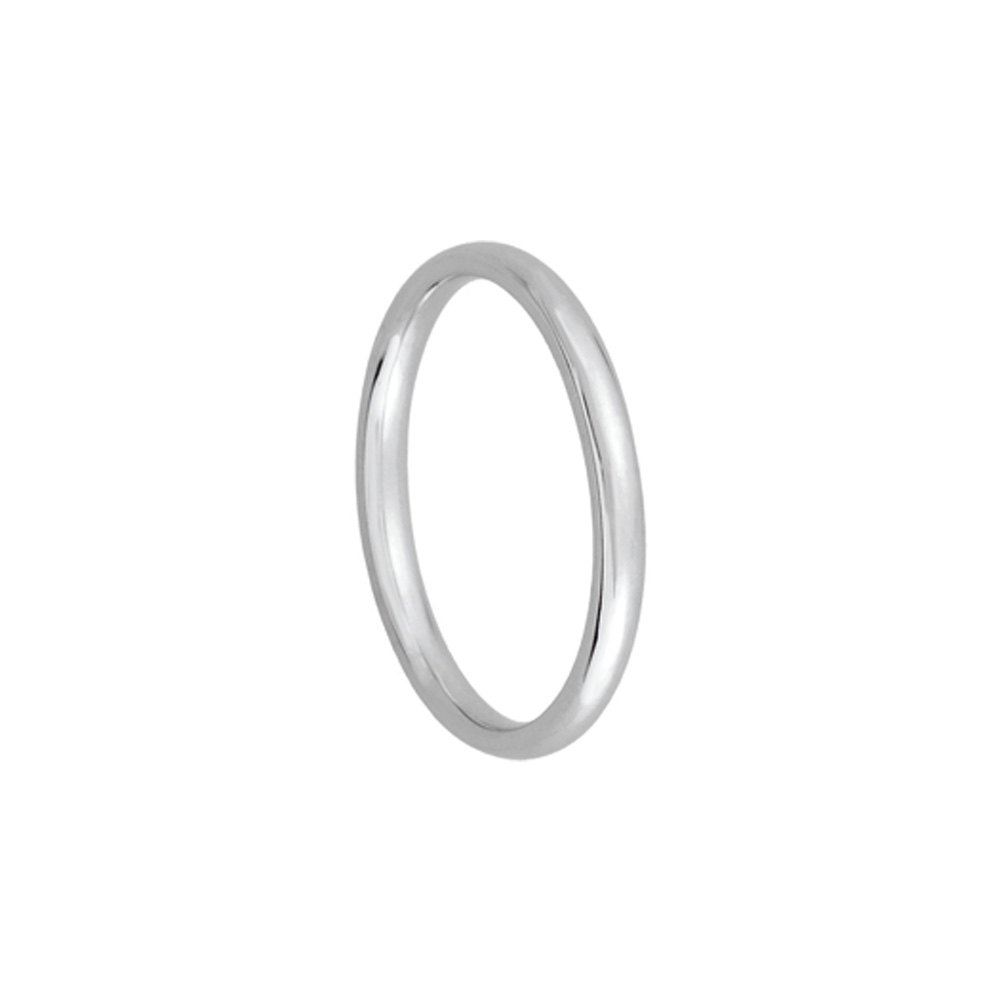 2mm Light Domed Comfort Fit Wedding Band In Platinum Size 4.5