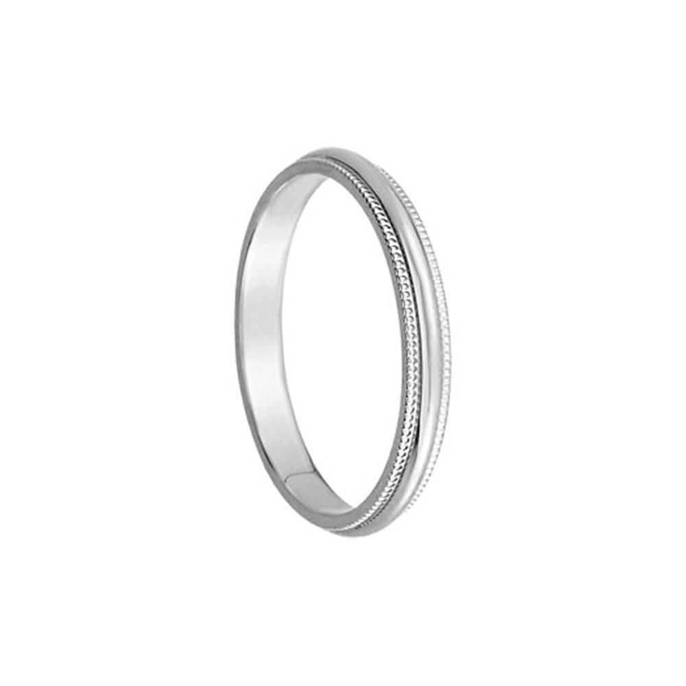 2.5mm Milgrain Edge Domed Band In 14k White Gold Size 6
