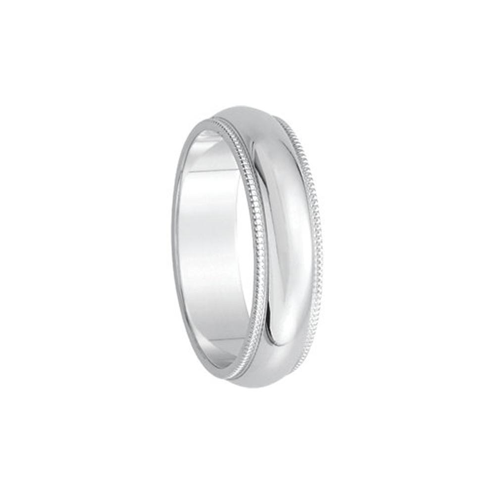 5mm Milgrain Edge Domed Band in 14k White Gold Size 9.5