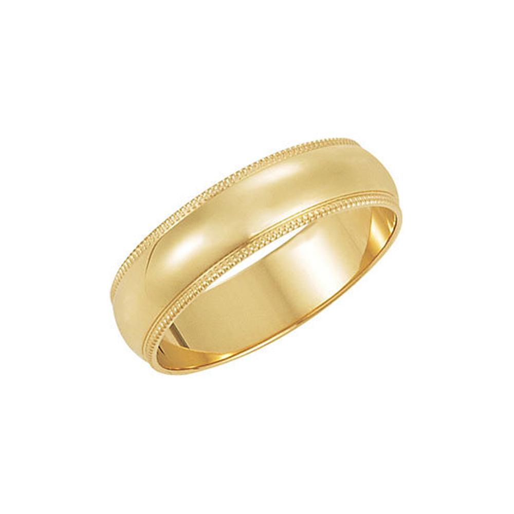 5mm Milgrain Edge Domed Light Band in 14k Yellow Gold Size 10.5