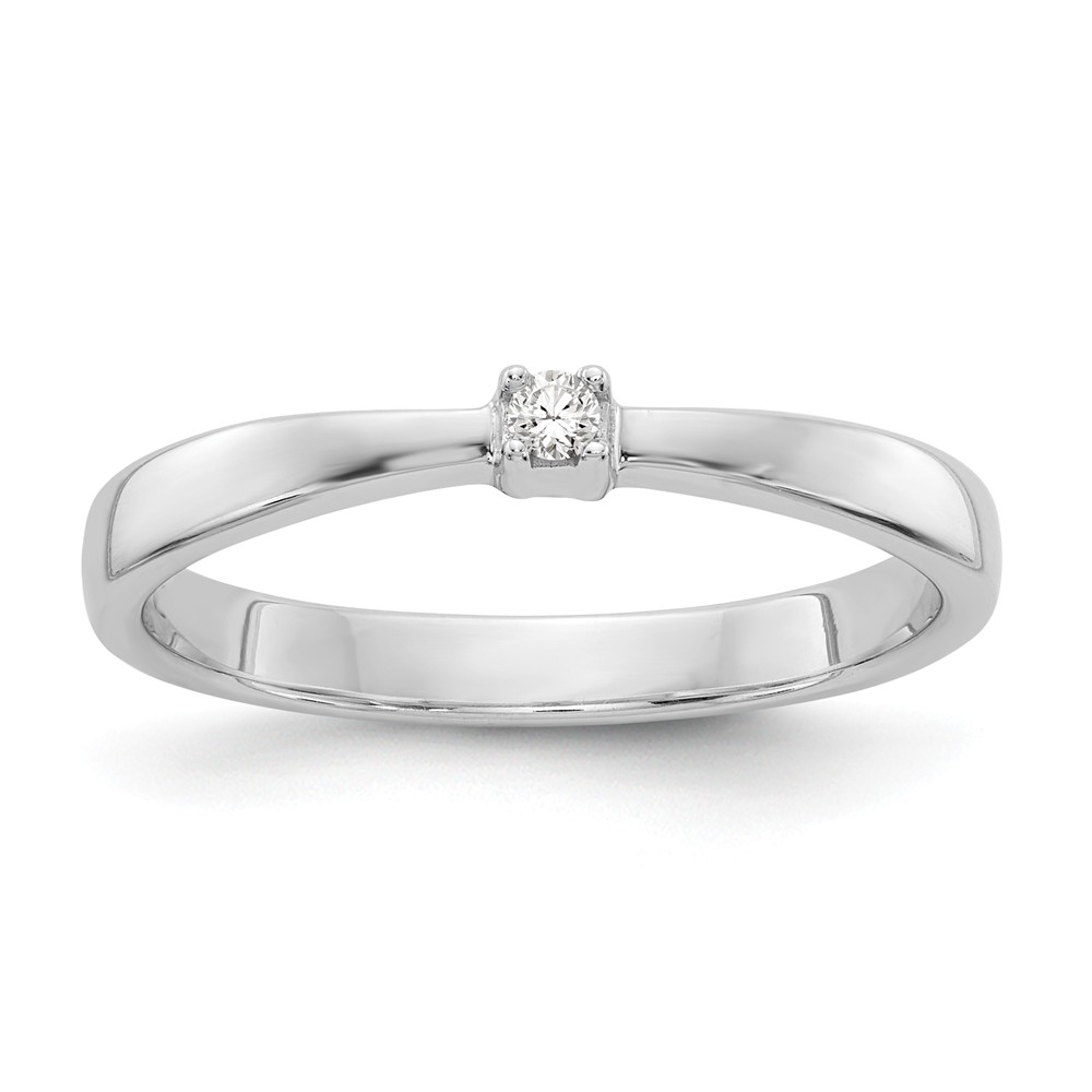 .03 Ct Diamond Solitaire Ring in Rhodium Plated Sterling Silver Size 7