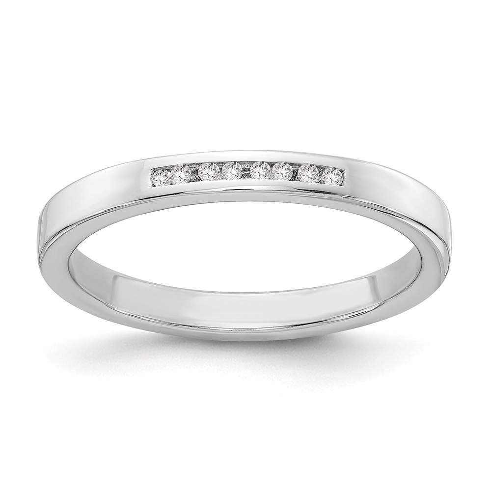 .08 Ctw Diamond 3mm Ring in Rhodium Plated Sterling Silver Size 6