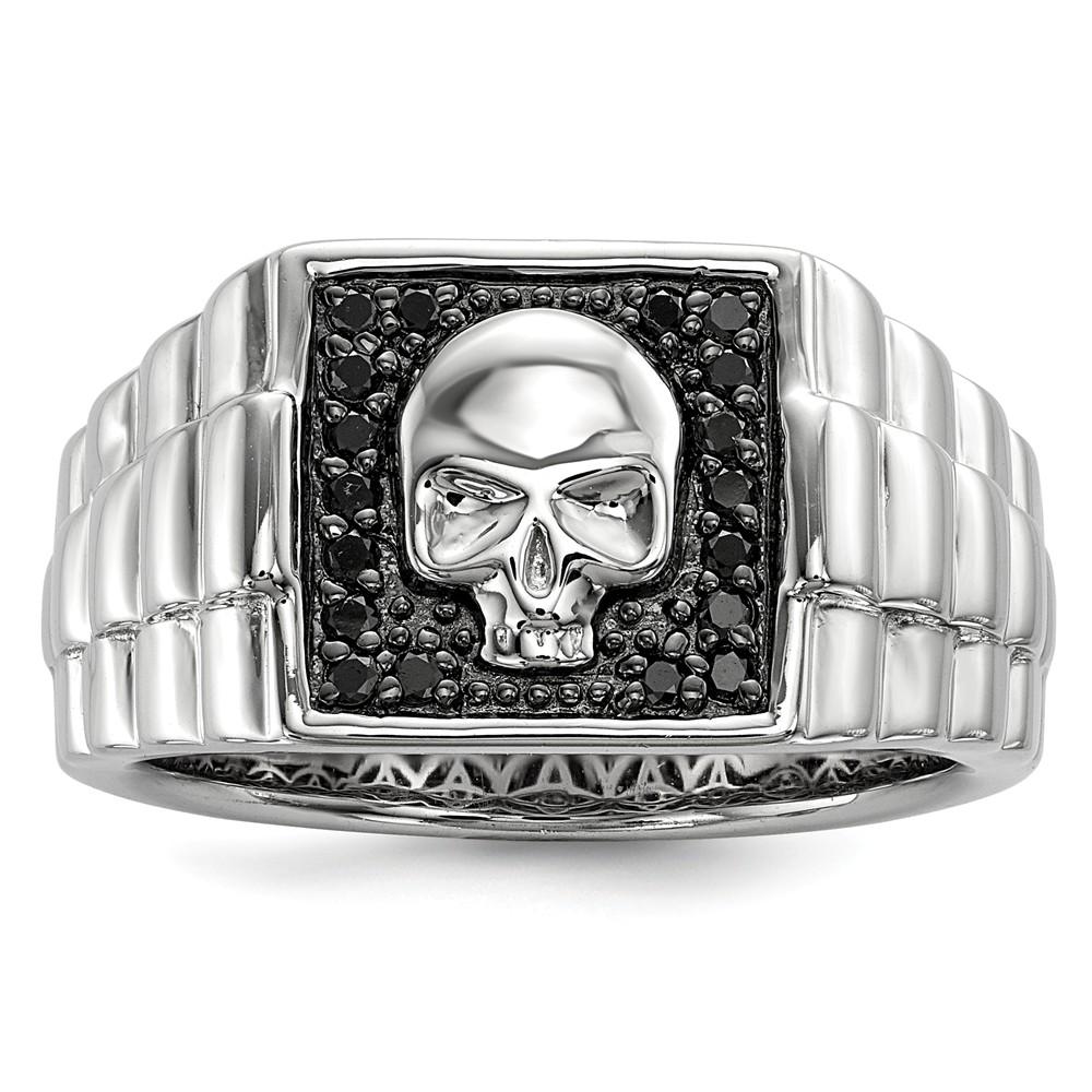 Sterling | Diamond | Square | Silver | Skull | Black | Ring | Size