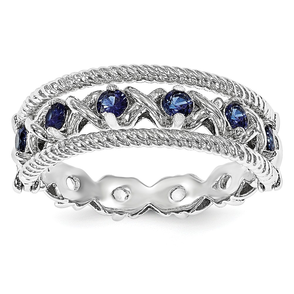 Sapphire | Sterling | Silver | White | Flip | Ring | Blue | Size