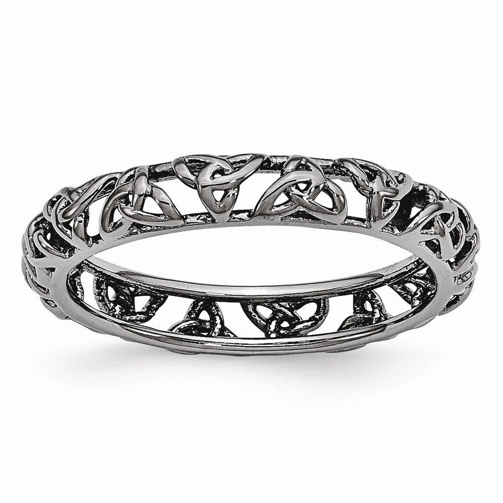 Black-plated Sterling Silver Stackable 3.5mm Celtic Knot Band Size 7