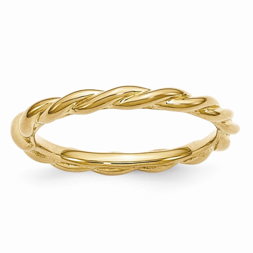 2.25mm Gold Tone Plated Sterling Silver Stackable Twist Band Size 10