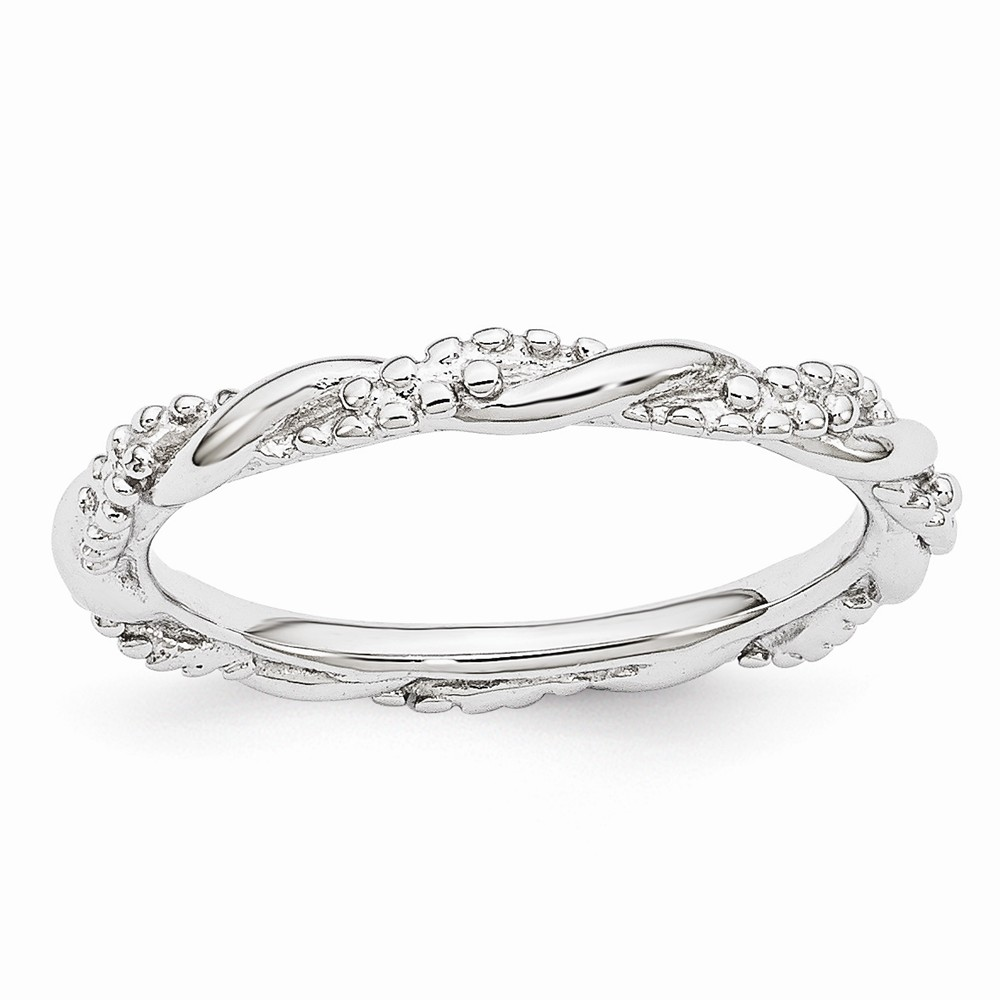 2.25mm Rhodium Plated Sterling Silver Stackable Beaded Twist Band Sz10