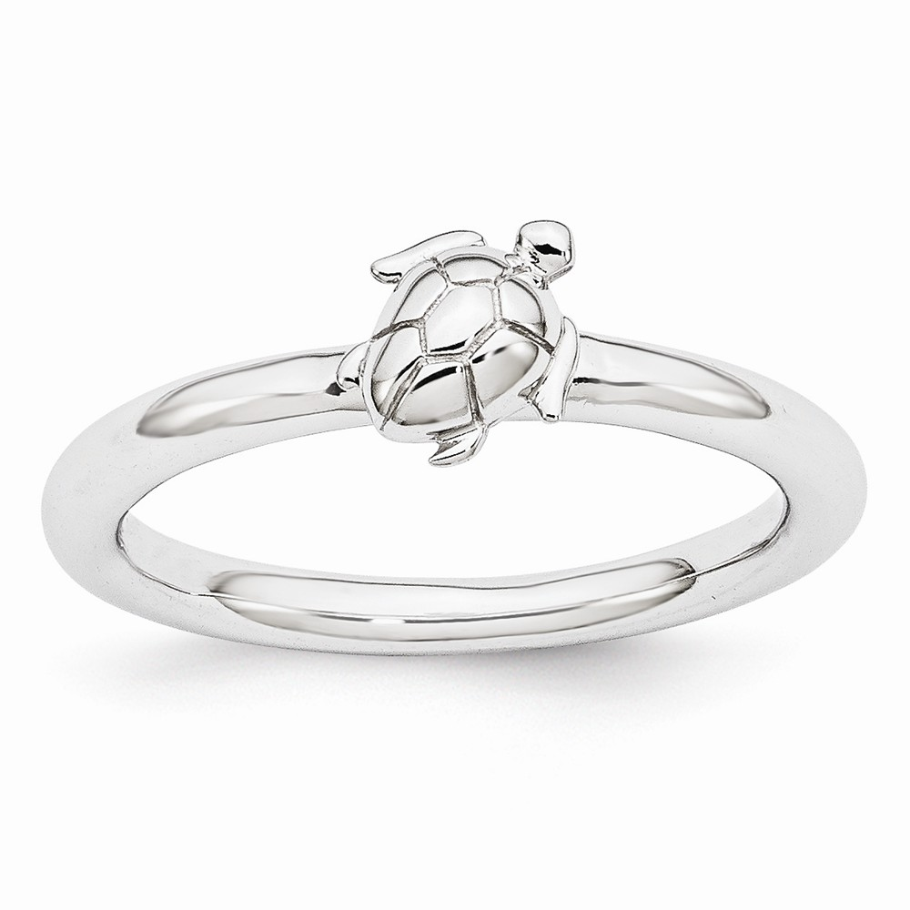 Rhodium Plated Sterling Silver Stackable 8mm Sea Turtle Ring Size 10