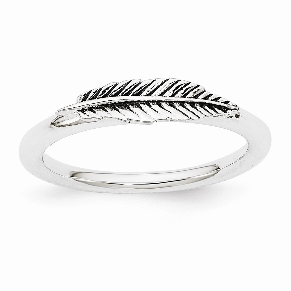 Rhodium Plated Sterling Silver Stackable Antiqued Feather Ring Size 10