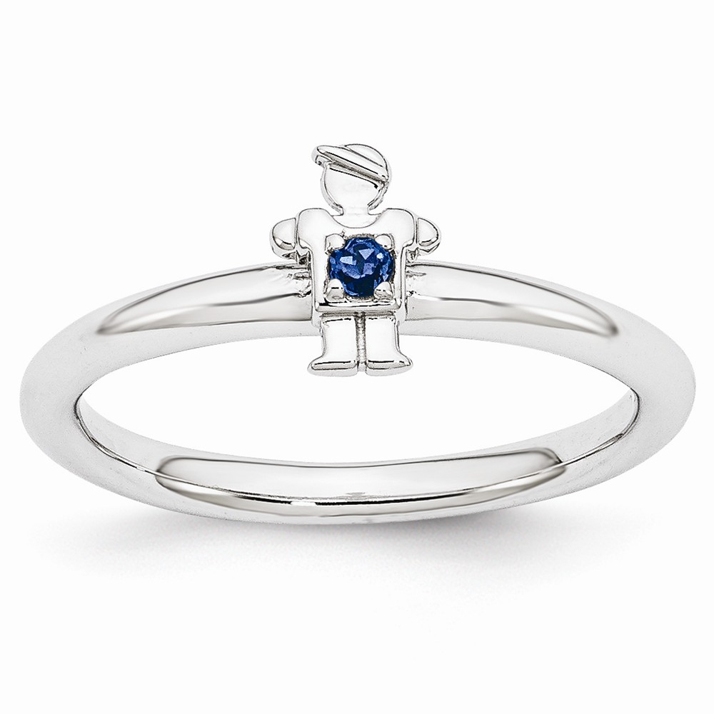 Stackable | Sapphire | Sterling | Rhodium | Silver | Ring
