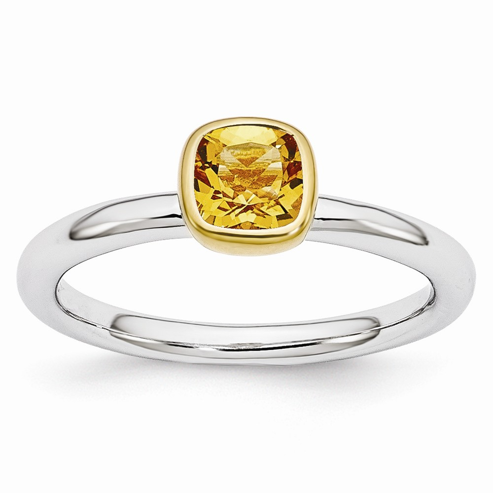 Stackable | Sterling | Citrine | Cushion | Silver | Ring | Size