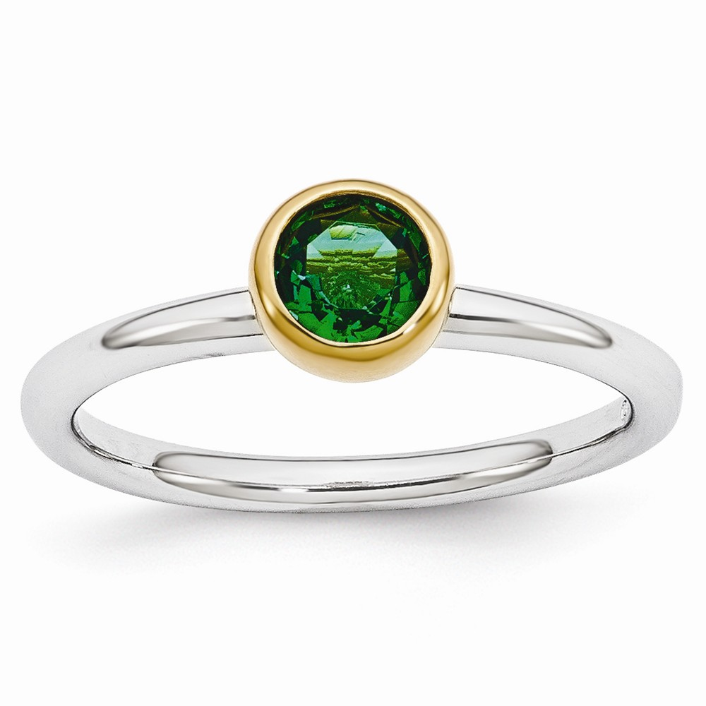 Stackable | Sterling | Emerald | Silver | Round | Ring