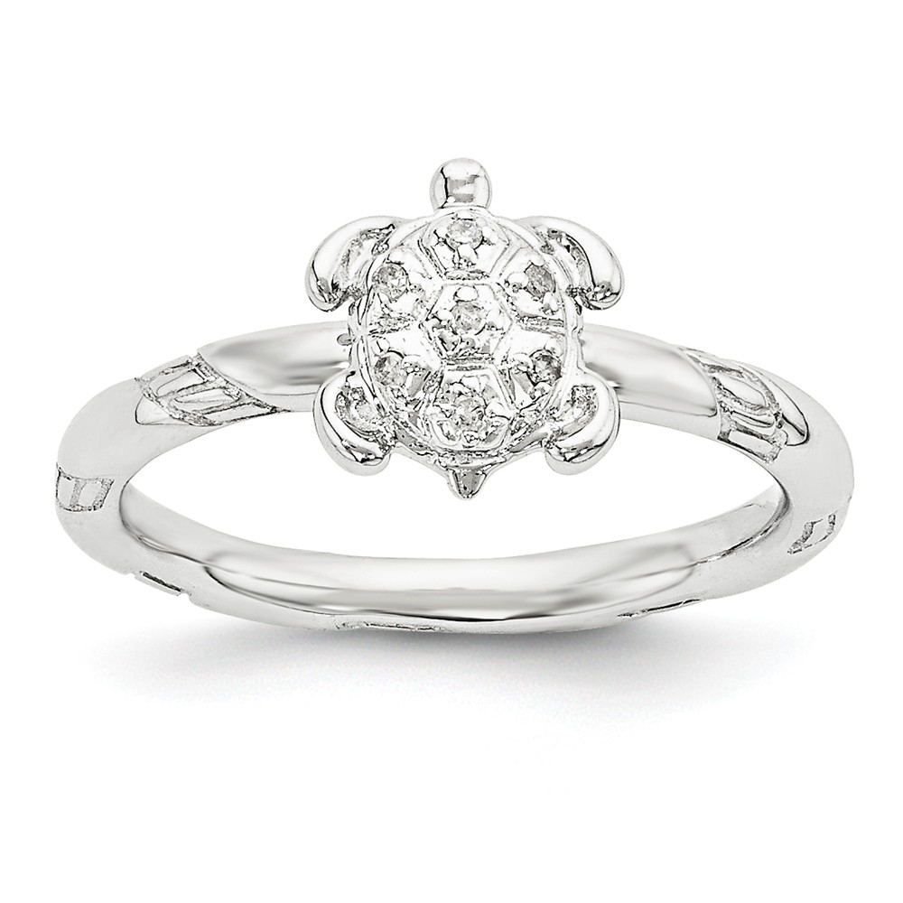 Sterling Silver Stackable .035 Ctw I3 H-i Diamond 9mm Turtle Ring Sz 5