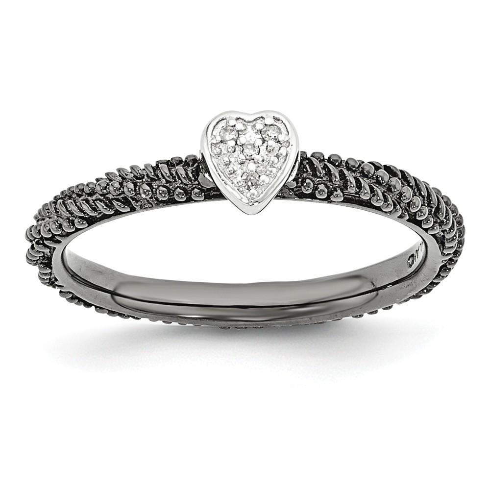 Black Plate Sterling Silver .02 Ctw I3 H-i Diamond 5mm Heart Ring Sz10