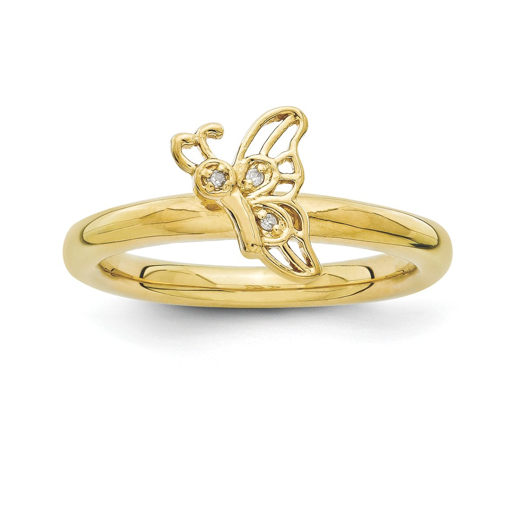 Gold Tone Sterling Silver .015 Ctw I3 H-i Diamond Butterfly Ring Sz 10