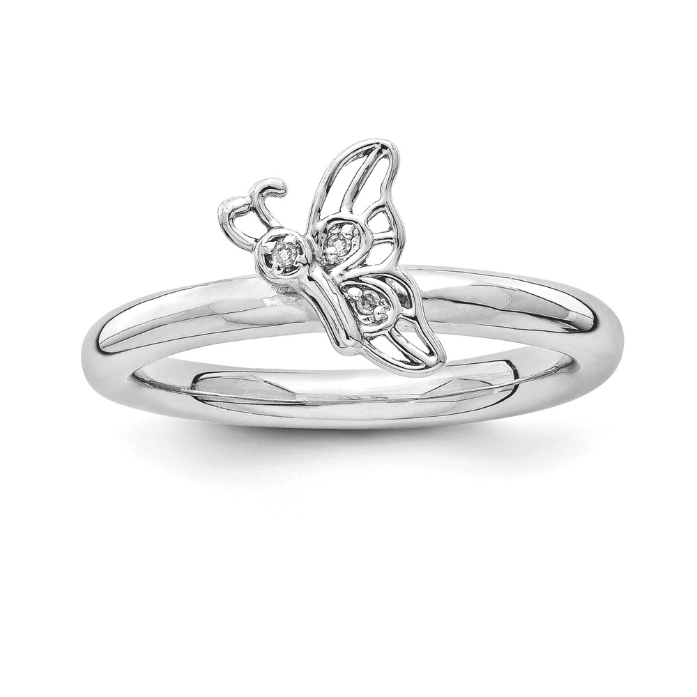 Rhodium Sterling Silver .015 Ctw I3 H-i Diamond Butterfly Ring Size 10