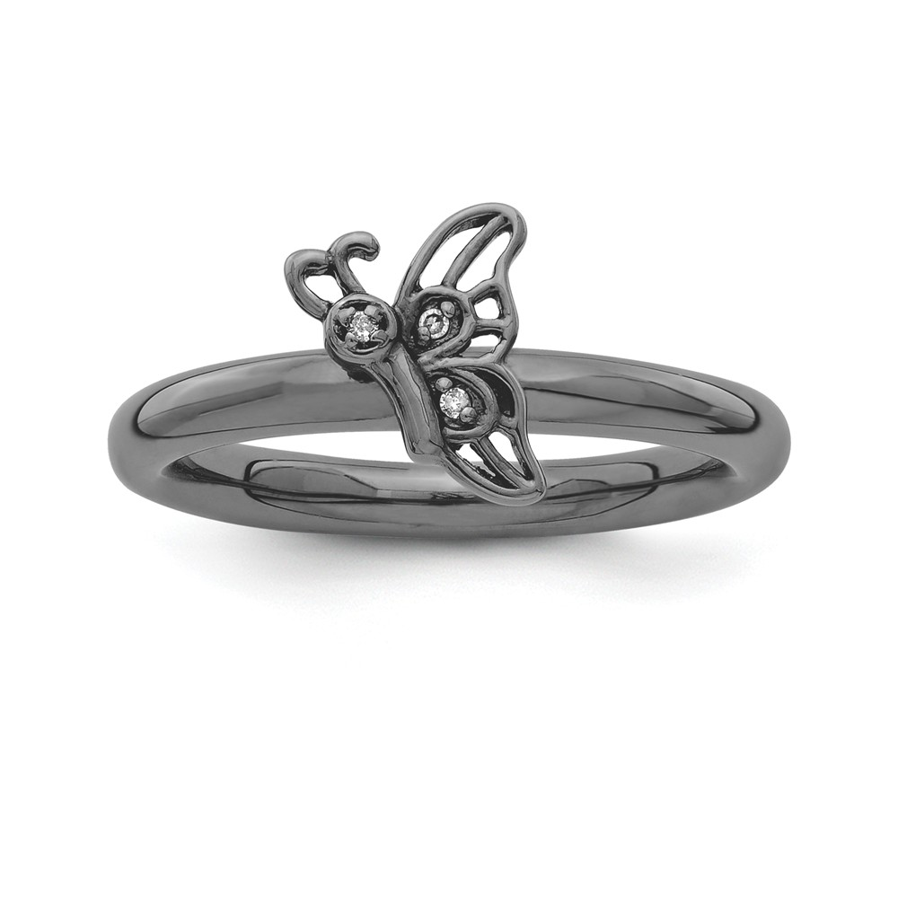 Black Plated Sterling Silver .015 Ctw H-i Diamond Butterfly Ring Sz 9