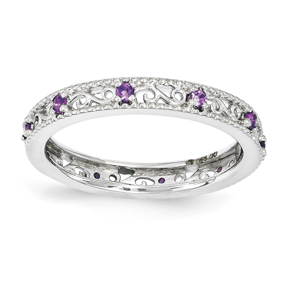 3mm Sterling Silver Stackable Expressions Amethyst Scroll Band Size 5