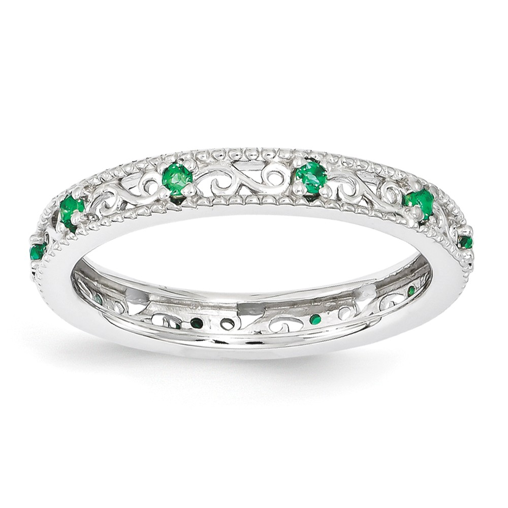 3mm Sterling Silver Stackable Created Emerald Scroll Band Size 5