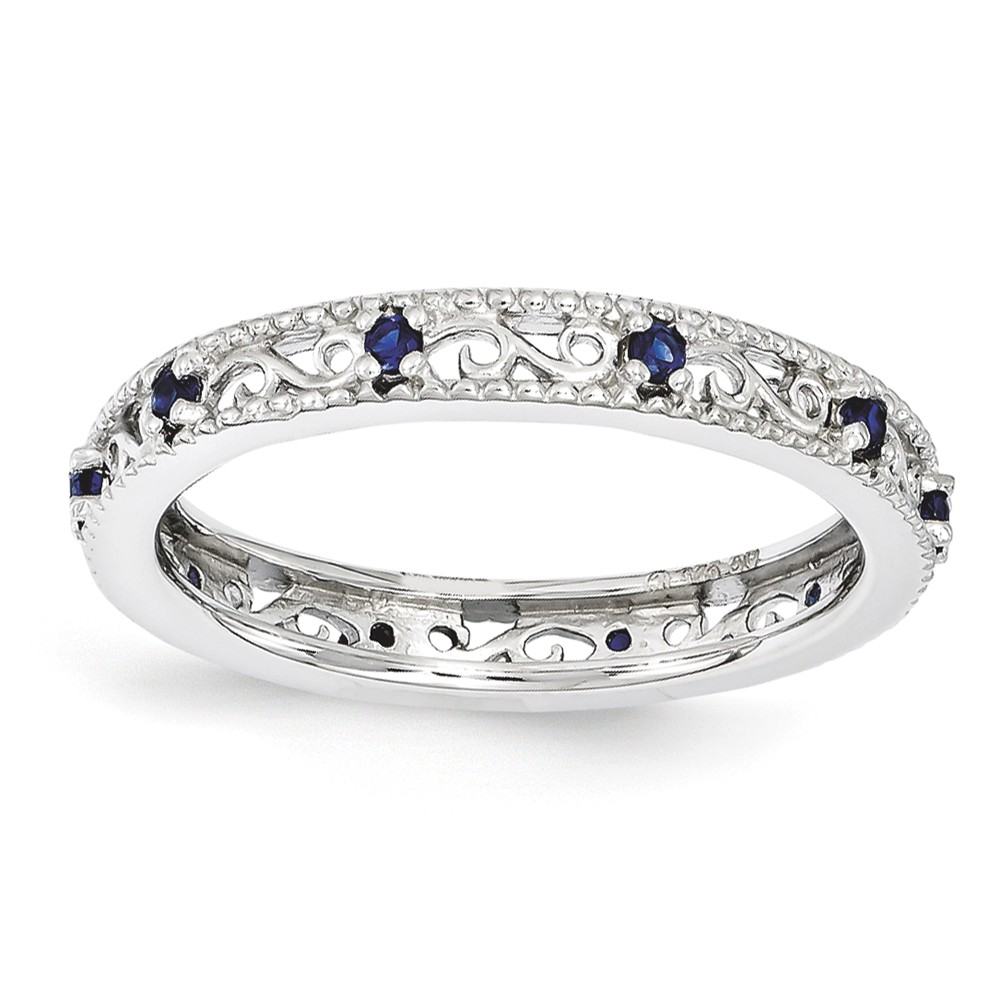 3mm Sterling Silver Stackable Created Sapphire Scroll Band Size 7