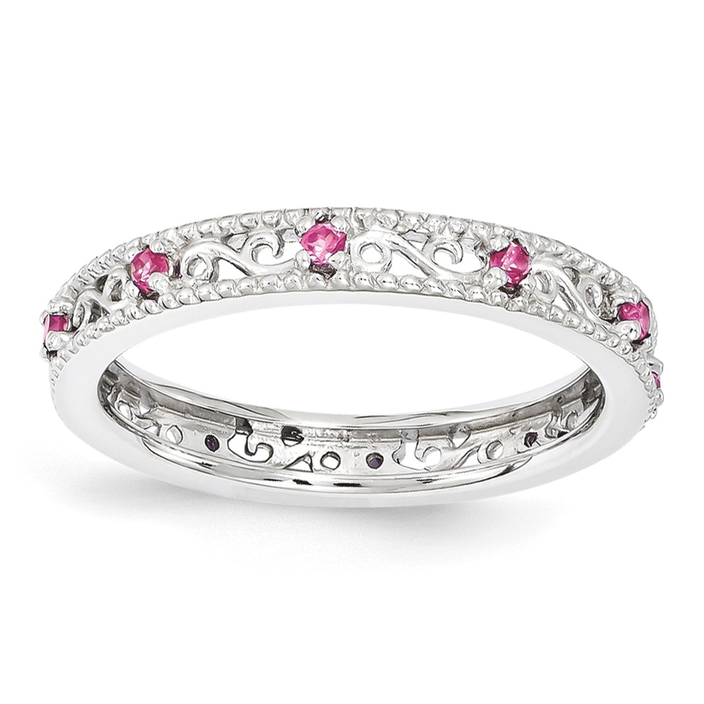 3mm Sterling Silver Stackable Created Pink Sapphire Scroll Band Size 8