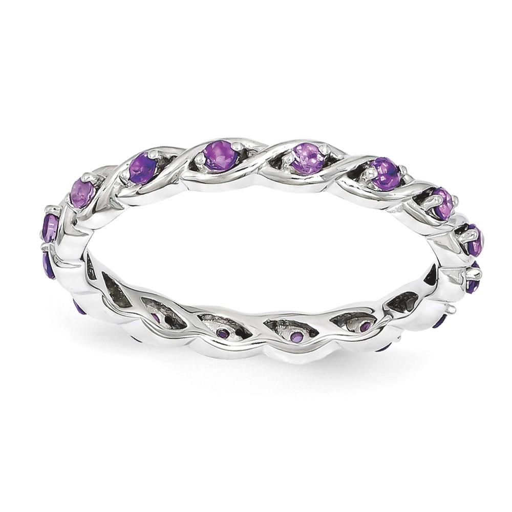 2.5mm Rhodium Sterling Silver Stackable Amethyst Twist Band Size 9