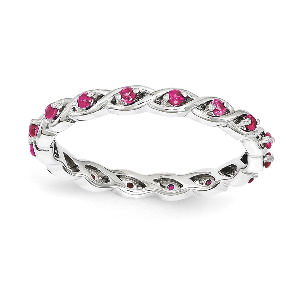 2.5mm Rhodium Sterling Silver Stackable Created Ruby Twist Band Size 6
