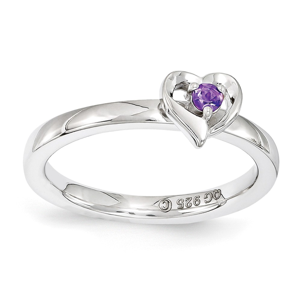 Sterling Silver Stackable Expressions Amethyst 6mm Heart Ring Size 7