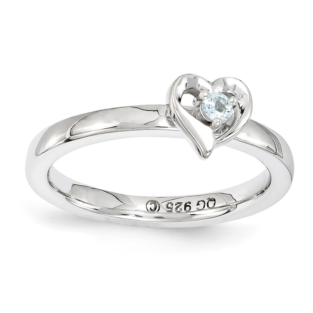 Sterling Silver Stackable Expressions Aquamarine 6mm Heart Ring Size 8