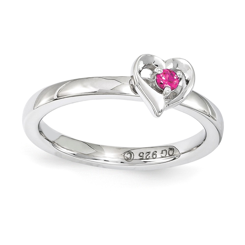 Sterling Silver Stackable Expressions Created Ruby 6mm Heart Ring Sz 6