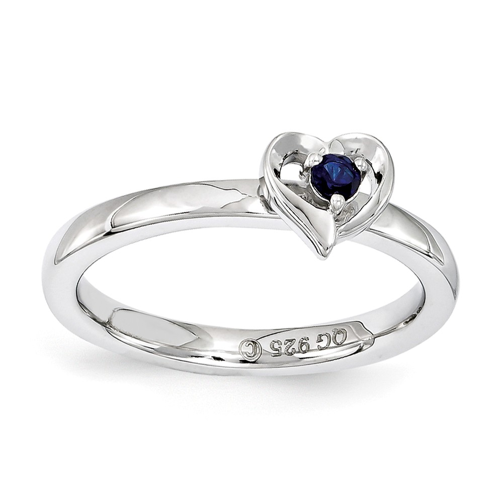 Stackable | Sapphire | Sterling | Silver | Heart | Ring