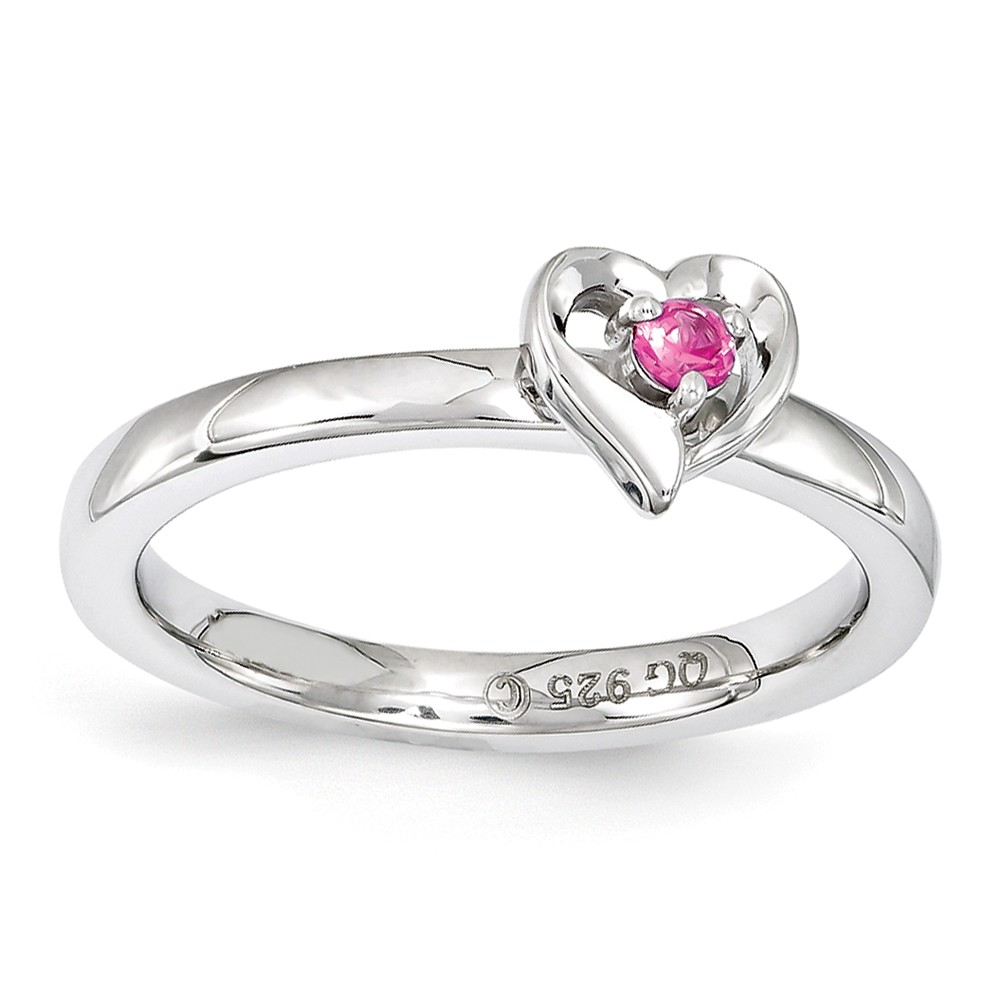 Sterling Silver Stackable Created Pink Sapphire 6mm Heart Ring Size 6