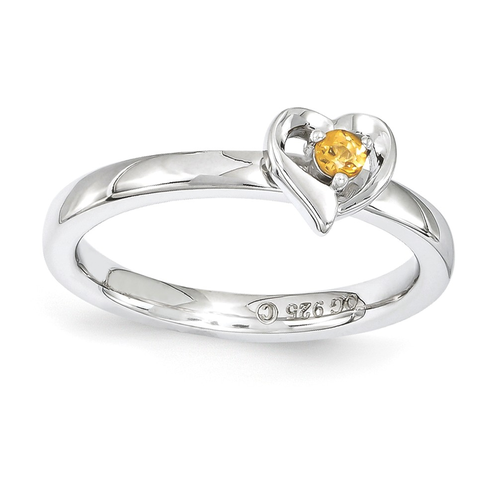 Sterling Silver Stackable Expressions Citrine 6mm Heart Ring Size 5