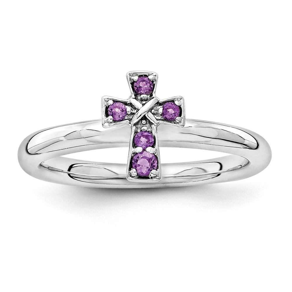 Stackable | Amethyst | Sterling | Rhodium | Silver | Cross | Plate | Ring
